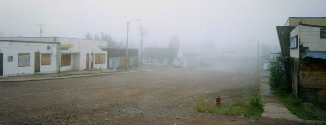 Main Street, Uranium City in the fog